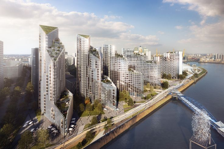 SOM envisions waterfront towers with cascading terraces for london's greenwich peninsula