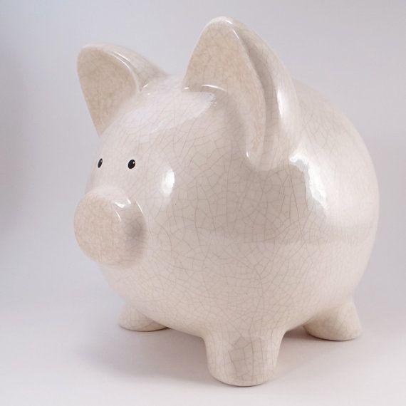 Cream Antique Crackle Piggy Bank  Personalized Piggy by ThePigPen