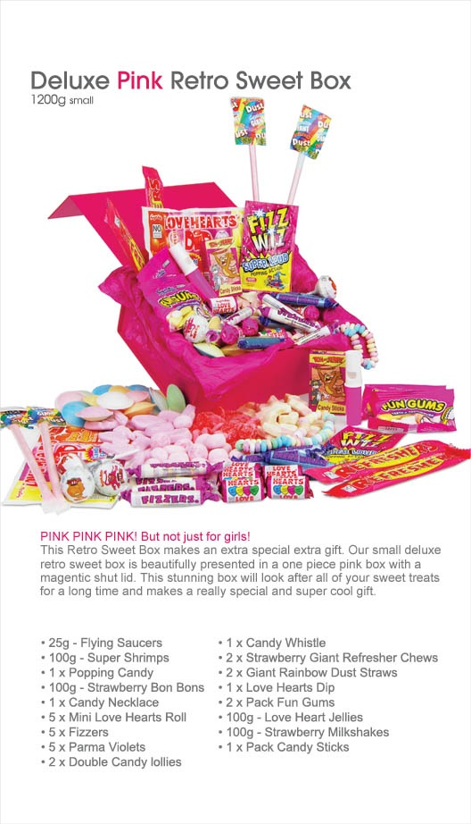 Pink Retro Sweet Box - personalise the card to make this a super-cute and special gift for somebody with a sweet tooth