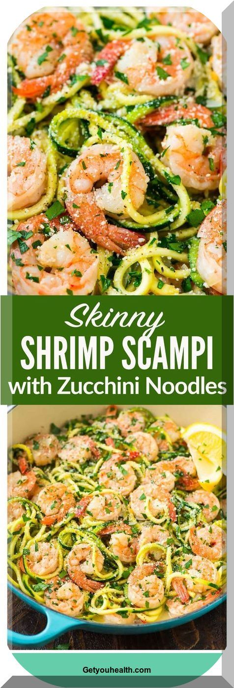 Skinny Shrimp Scampi with Zucchini Pastas. Easy