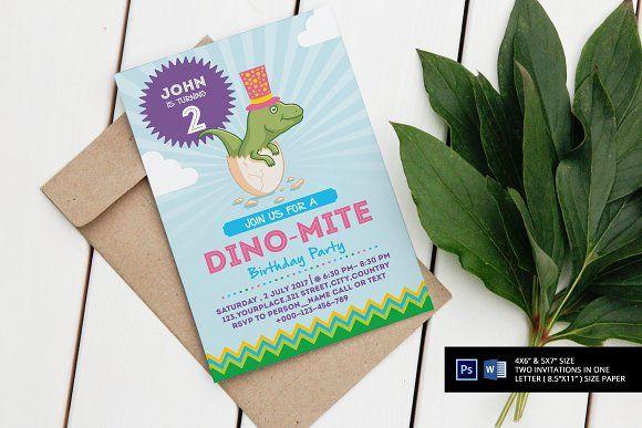 Dino-Mite Birthday Party Invitations  @creativework247