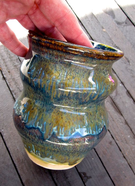 Ancient Jasper with Cabolt Blue Vase by TwistedPotteryShack, $65.00