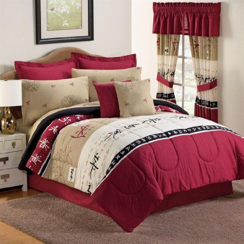 Brylanehome Takimi Comforter Set by BrylaneHome. $64.99. With Asian characters making a statement on lush burgundy and black, our Takimi Comforter Set transports you to the Far East without the airfare. Its included bedskirt, shams, pillows, and sheets surround you in beautiful burgundy while the detailed Asian inspired comforter adds a splash of culture to your bedroom. And for a more traditional look, simply reverse the comforter to solid burgundy. For more ways to p...