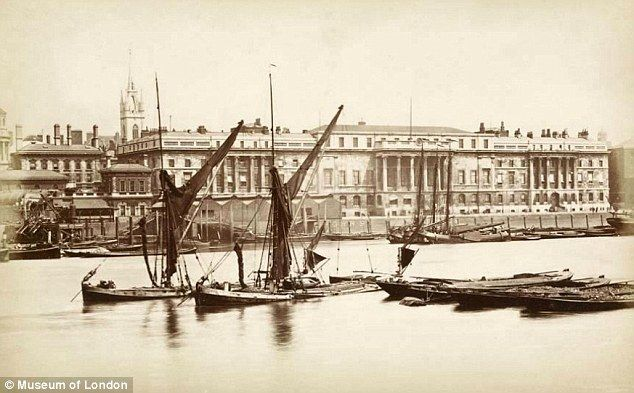 Crucial: A custom house on the Thames in around 1875, when the river was still vital to London's trade and was so polluted it earned the name 'the Great Stink'