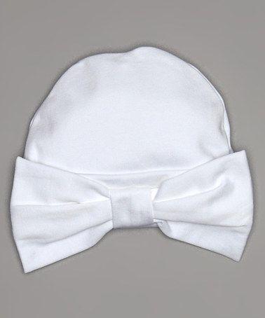 Love this White Bow Pima Beanie by Hug Me First on #zulily! #zulilyfinds