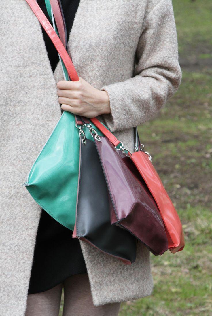 "Green Bag ""Monica Jungle"", Patent Leather Crossbody Bag, Small Leather Purse, Green Leather Cross Body Handbag"