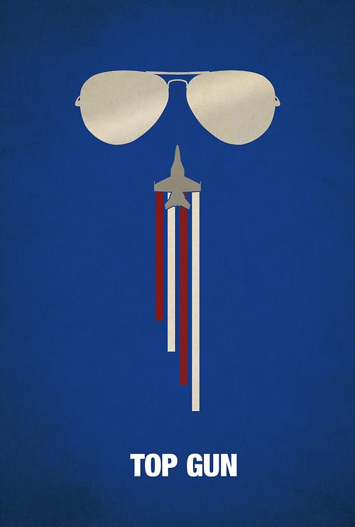 Top Gun, poster background colours best to chosen to link top gun and with red and white for USAF