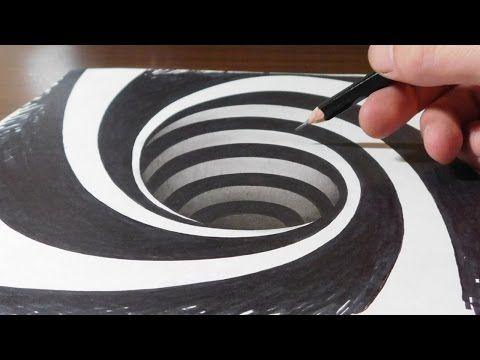 Drawing a Spiral Hole - Anamorphic Trick Art Illusion - YouTube