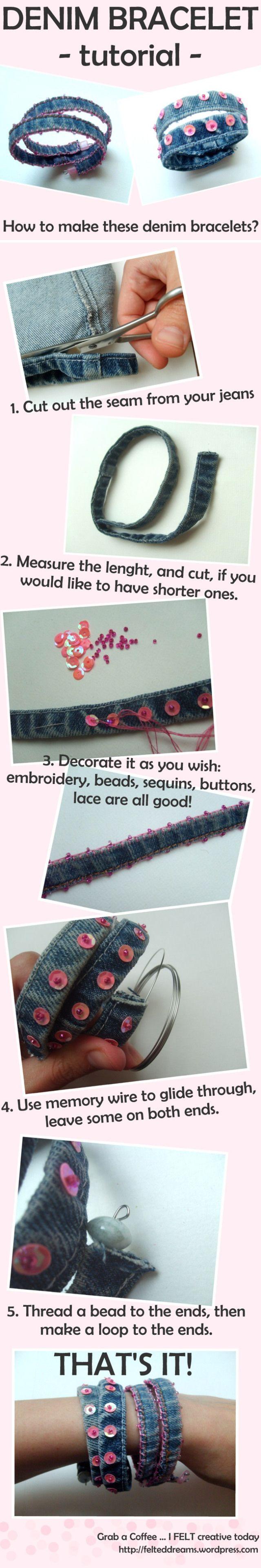 @: denim bracelet tutorial