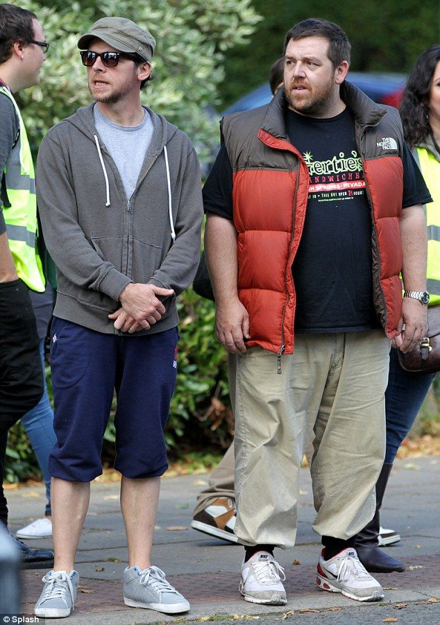 Flashback: Simon Pegg and Nick Frost were filming their new movie with some young actors representing their youngerselves on the set of The World's End