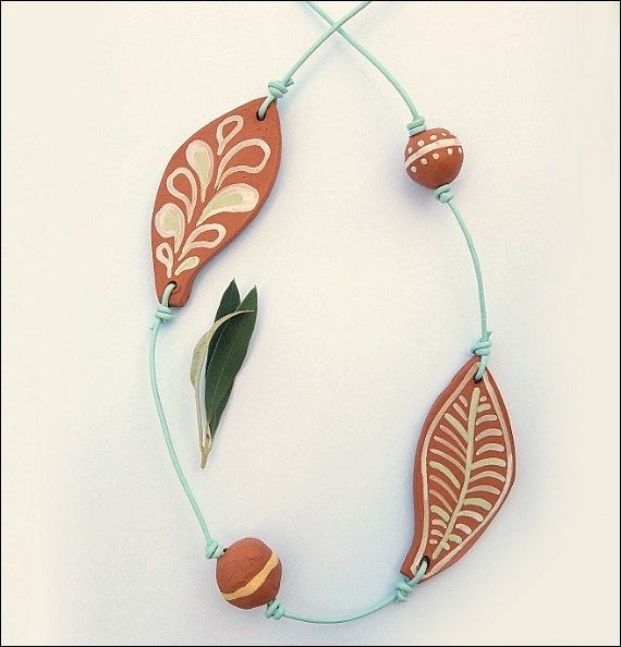 Olive Tree leaves Terracotta necklaceFREE by IoannasVeryCHic,