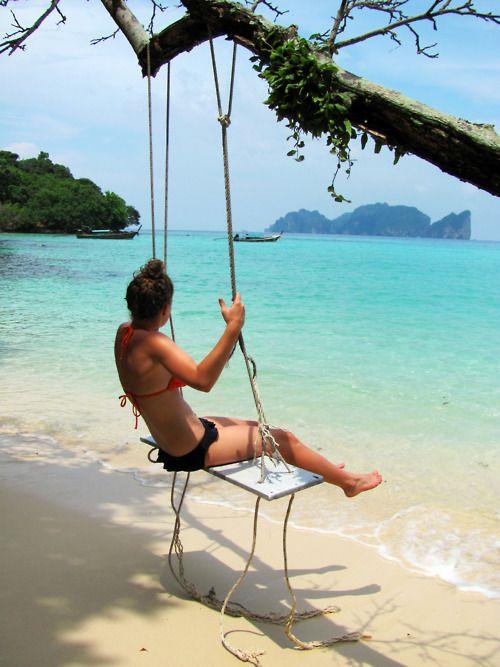 uhh yea.Pink Summer, Dreams, The Ocean, Places, Beach, Thailand Travel, Trees Swings, Heavens, The Sea