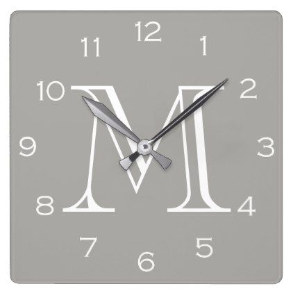 Monogram White Numbers On Grey Wall Clock - #customizable create your own personalize diy