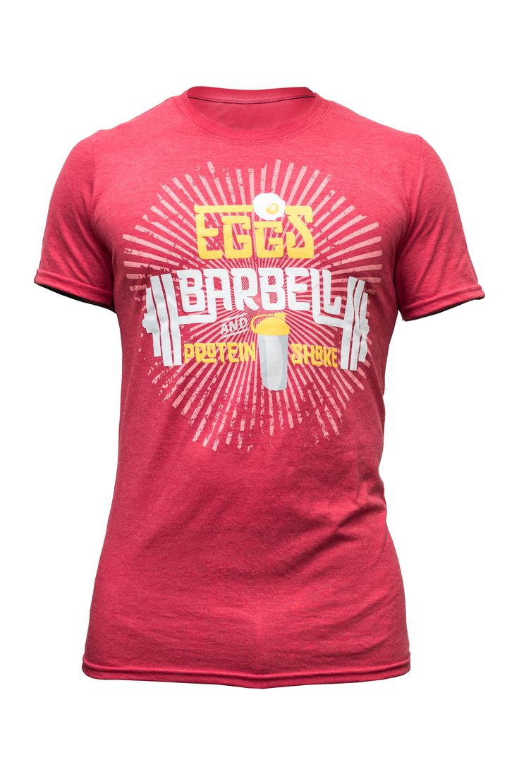 Mens Tee Eggs, Barbell & Protein Shake