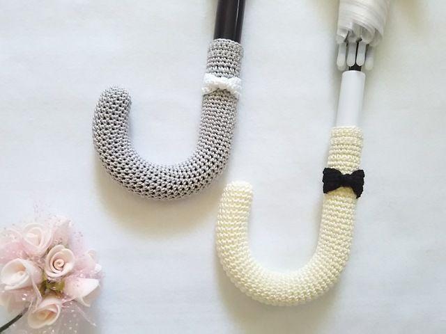 6色 傘のグリップカバー リボン 傘 かぎ針編み 小物 レース糸