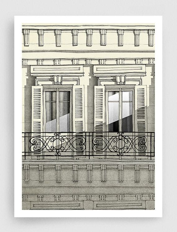 Paris illustration - Paris balcony (vertical version) - Art illustration,Art prints,Art Posters,Paris art,Paris decor,wall decor,grey,