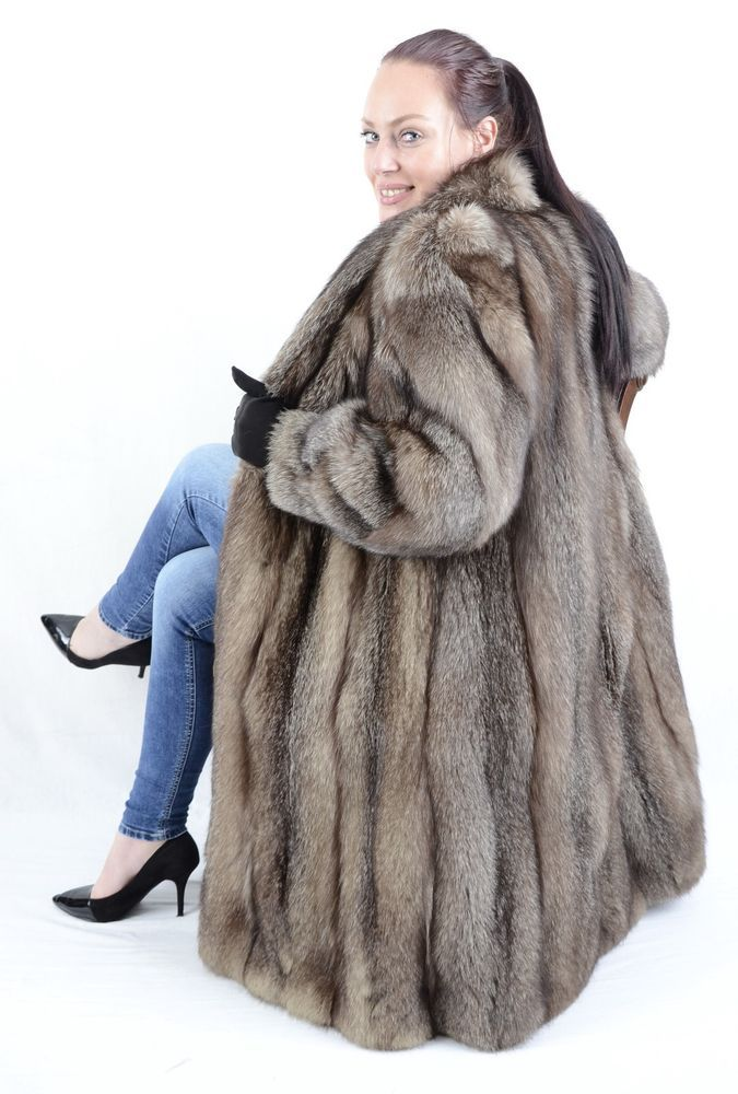 12b2f79c8 US893 Fashionable Women Silver Fox Coat Fox Fur Jacket Fuchsmantel ~ S - M  8/10 #Handmade #BasicCoat