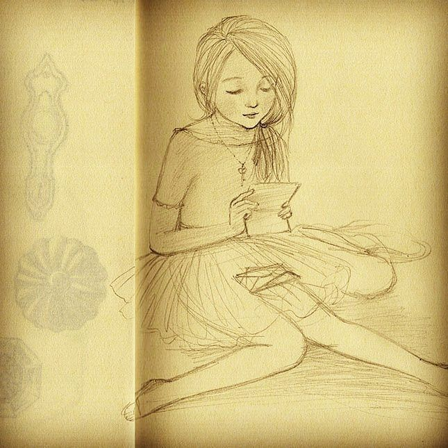 #drawing for #secret #notes #lapetitefille #소녀 그리고 #비밀편지 #hefe