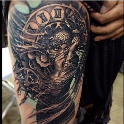 Tattoo Woman Dark: Most Beautiful Tattoo #woman #pirate #gypsy #clock #dark