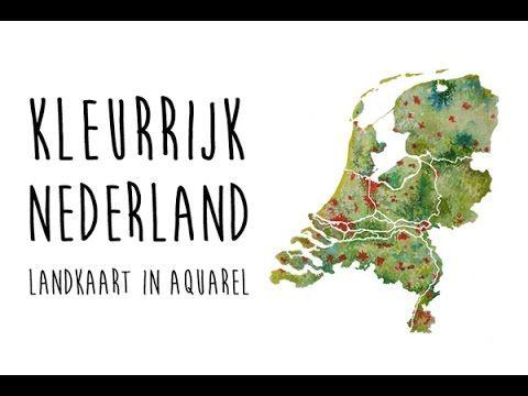 - Kleurrijk Nederland -  Landkaart in Aquarel. Wanddecoratie verkrijgbaar bij: www.eyecatcheraandemuur.nl