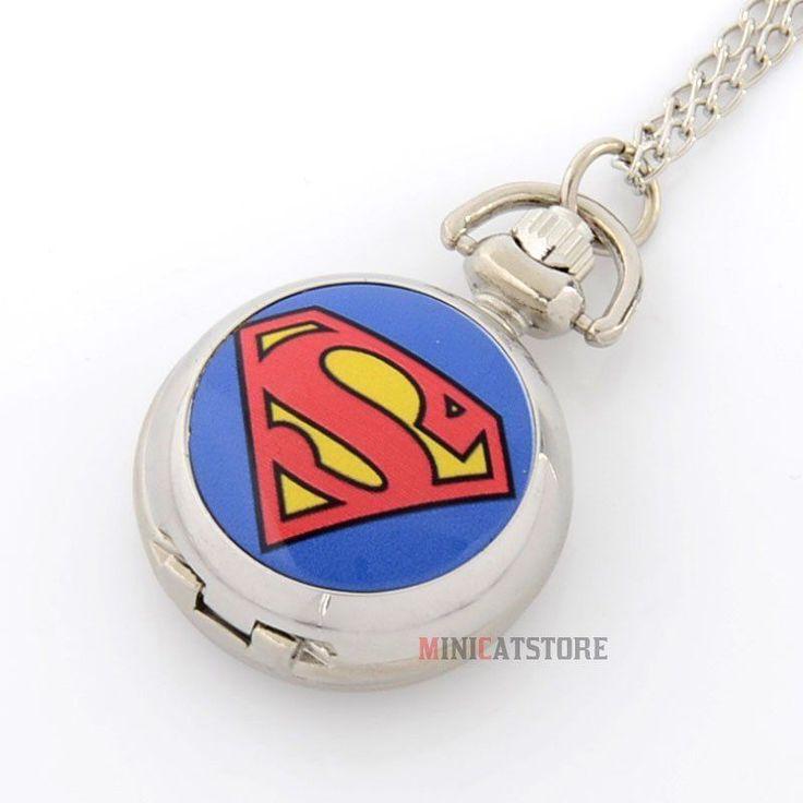 Superman Hero Silver coloured mini quartz Pocket Watch Necklace Chain