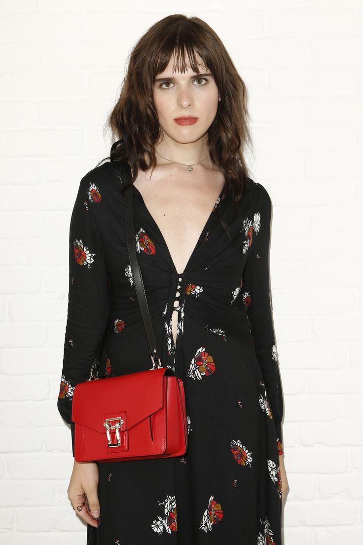 Hari Nef carrying the Hava bag at the Proenza Schouler Spring 2017 Ready-to-Wear Fashion Show Front Row