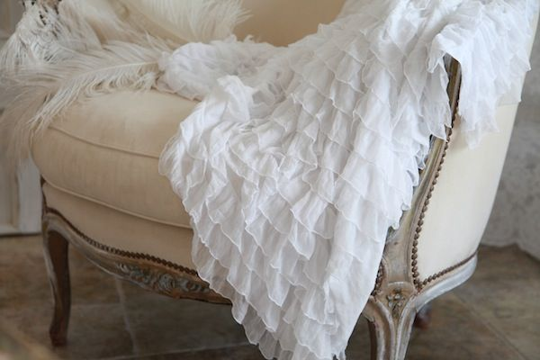 Soft White Ruffle Throw  Bed throws Shabby chic cottage