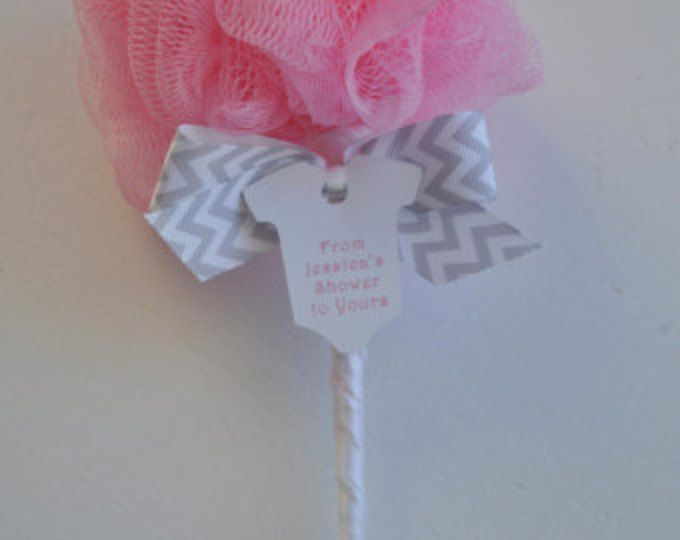 Pink and Gray Chevron Baby Rattle Bath Puff Baby Shower Favor with Tag