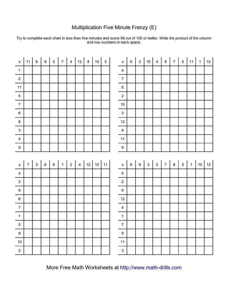 32 melhores imagens sobre math minutes no Pinterest Multiplicação - multiplication frenzy worksheet