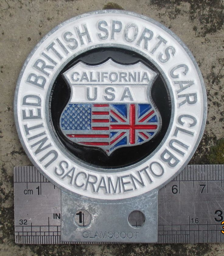 VINTAGE 1980 UNITED BRITISH SPORTS CAR CLUB BADGE CALIFORNIA UBSCC EMBLEM NOS