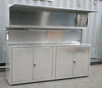 8 Foot Diamond Plate Cabinet With Full Length Upper