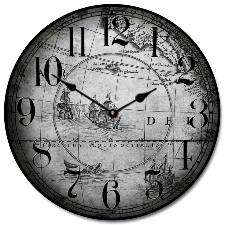 25 best map clocks images on pinterest world maps big clocks and old world map clock featuring drawings of whales and ships comes in gray or parchment gumiabroncs Choice Image