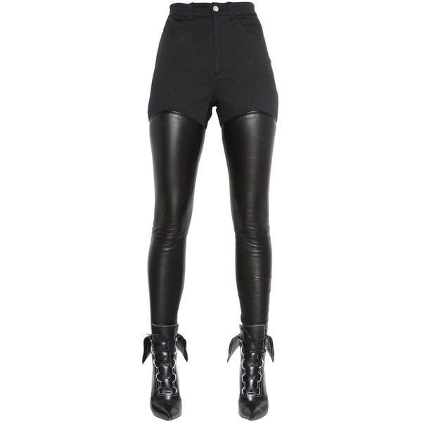 GIVENCHY Nappa Leather & Cotton Drill Pants - Black (£950) ❤ liked on Polyvore featuring pants, bottoms, doll legs, givenchy, black, high rise pants, high-waisted trousers, high waisted button pants and high waisted trousers