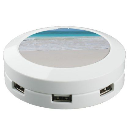 White Tropical Beach and Sea USB Charging Station - blue gifts style giftidea diy cyo