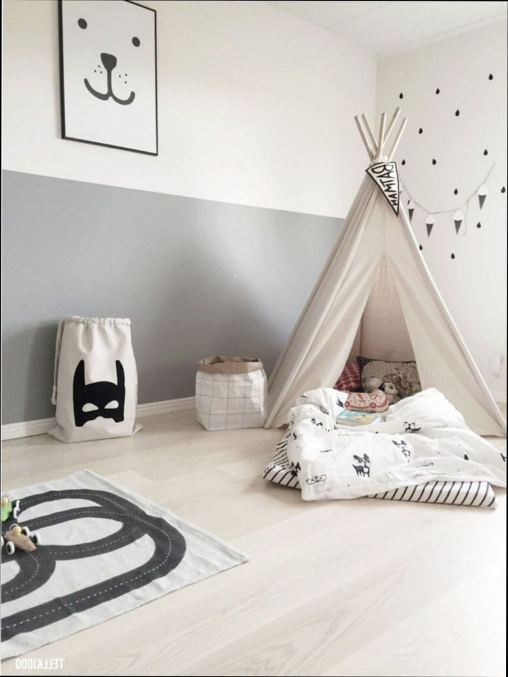chambre deco tipi decoration fille gris et rose scandinave ...