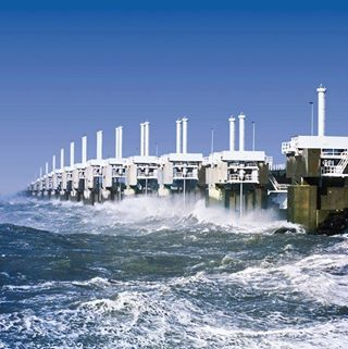 The Delta Works is a series of construction projects to protect the Dutch from the sea. It consists out of dams, sluices, locks, dikes and storm barriers. The Delta Works have been declared one of the Seven Wonders of the Modern World by the American Society of Civil Engineers!