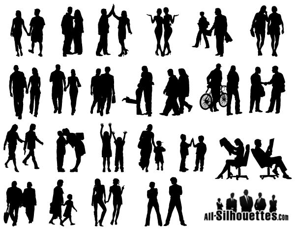 People in Couples Silhouettes Vector Free
