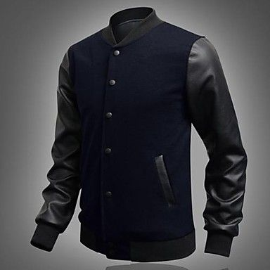 Men's fashion. Casual sporty buttoned leather sleeve jacket. Comes in blue/ black/ bourbon/ grey/ white