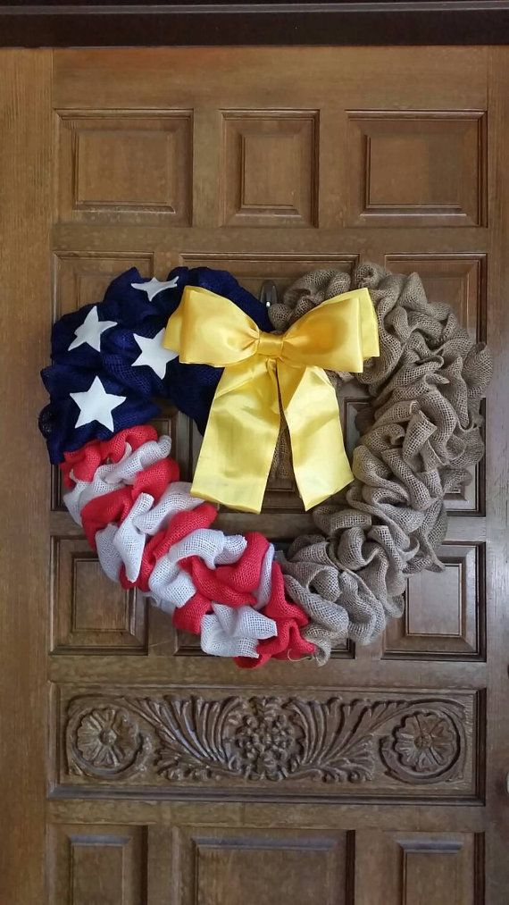 Independence Day fourth of July American americana Decor decoration Check out this item in my Etsy shop https://www.etsy.com/listing/223177045/military-wedding-heart-flag-wreath