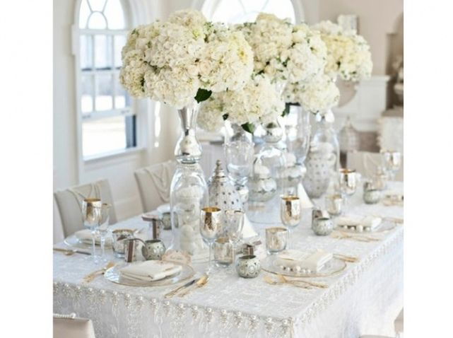 Table mariage blanc argent