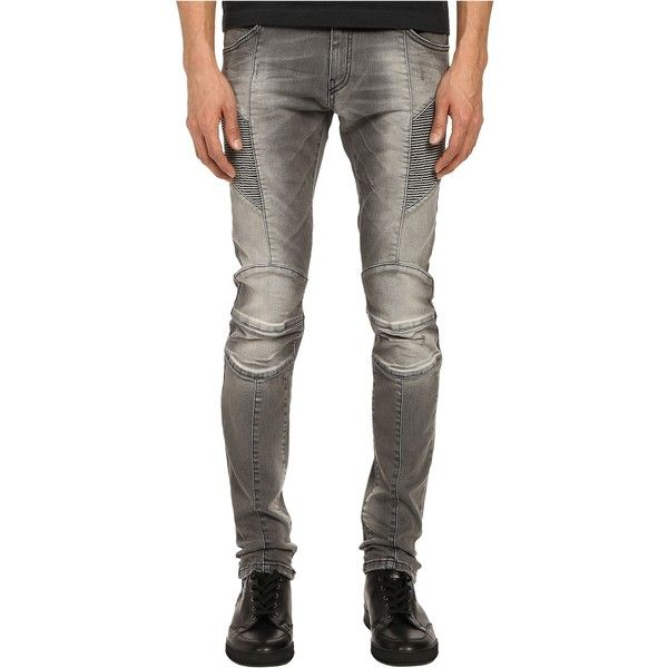 Pierre Balmain Faded Biker Jeans (Dark Grey) Men's Jeans ($388) ❤ liked on Polyvore featuring men's fashion, men's clothing, men's jeans, grey, mens ripped skinny jeans, mens gray jeans, mens ripped jeans, mens jeans and mens distressed jeans