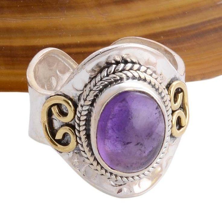AMETHYST CAB 925 STERLING SILVER RING 5.57g DJR4184 #Handmade #Ring