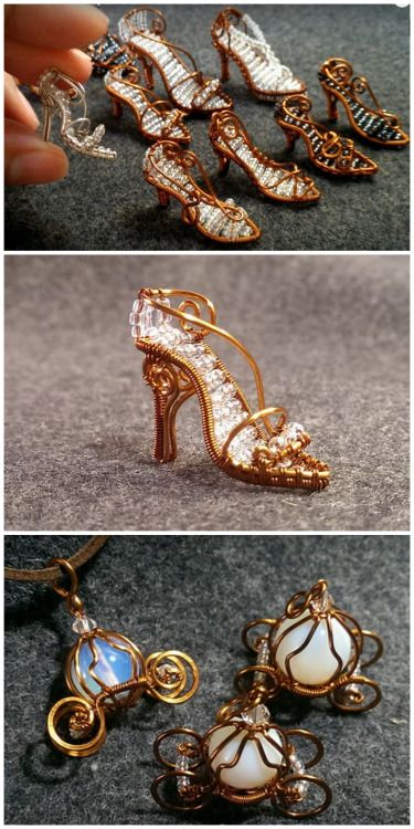 DIY Mini Wire Wrapped Cinderella Glass Slippers and Pumpkin Coach   The Cinderella shoes are for those with advanced wire wrapping skills; the pumkin coach is much easier to make.   I've posted a lot of wire work DIYs - you can see hundreds of them here.   This post is based on a post I saw at Beading Gem here - a blog I read all the time.    DIY Mini Wire Wrapped Shoes by YouTube User  Lan Anh here.       DIY Mini Wire Wrapped Pumpkin Coach by YouTube User Lan Anh here.      If you are new…