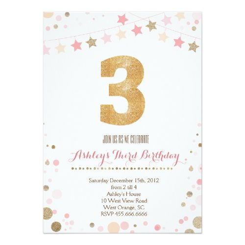gold glitter third birthday invitation birthday invitations