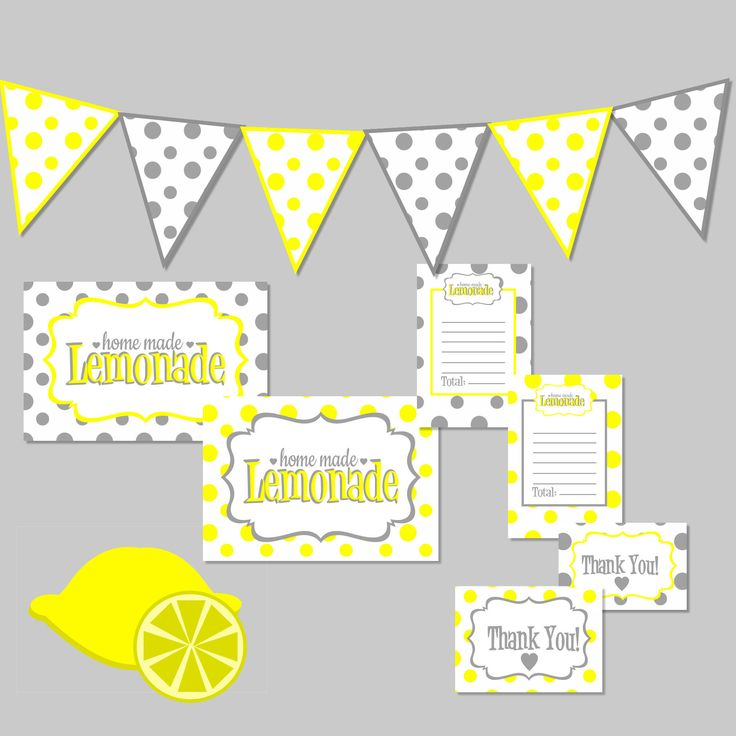 Lemonade Stand Kit! Free Printable Digital Download from MaaddHappy! Comes with Banner, Lemonade Stand Signs, Receipts, Thank You Cards, and Lemon Graphics for decoration.