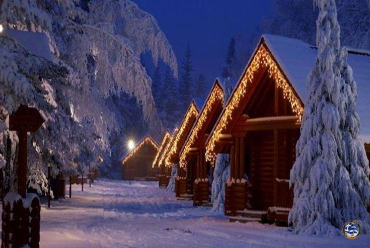 Cabins in the beautiful Pertouli village, Trikala