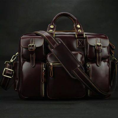 Роскошный итальянский натуральная кожа мужской портфель большой бизнес сумка кожа мужчин 15  сумка для ноутбука сумка большая сумка бесплатная доставка