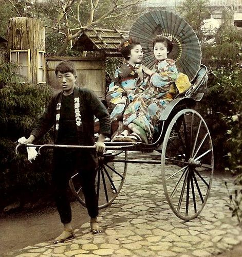Geisha going for a ride -- Jinrikisha days in old Japan. Ca.1898 Photograph by T. Enami.