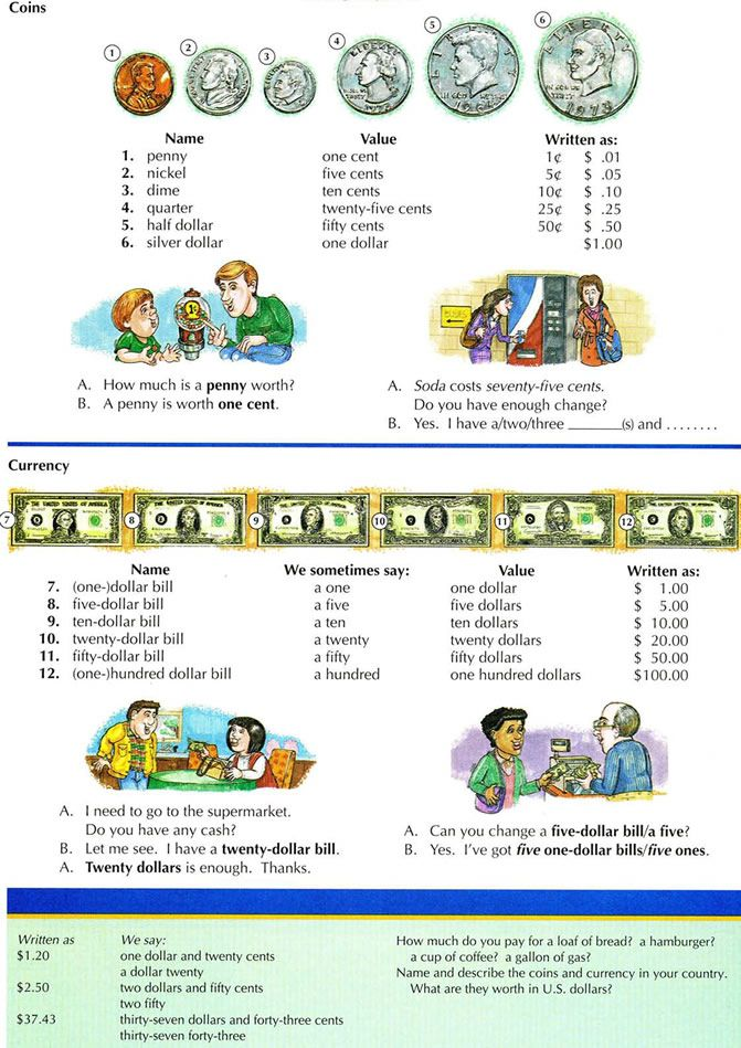 Learning about American money, coins, currency and how to talk about money in everyday life.