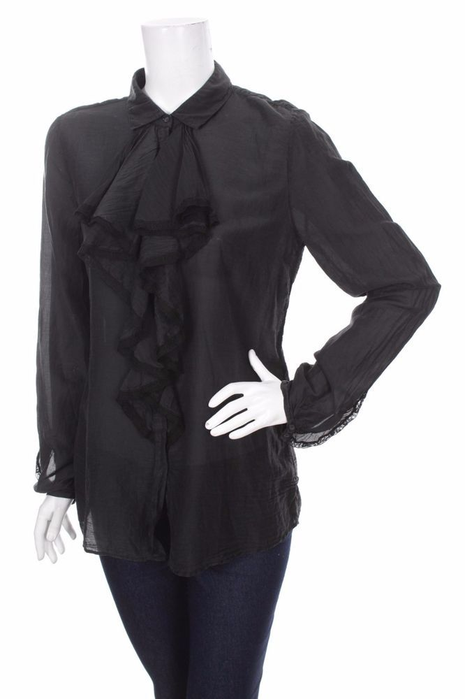 NWT Hugo Boss Orange Women Black Shirt Jabot Silk Blouse Tops Size: XS / D 34 #HUGOBOSS #Elegant